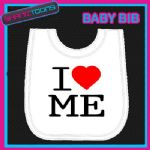 I LOVE HEART ME WHITE BABY BIB EMBROIDERED